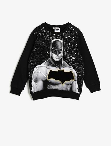 Koton Kids Batman Lisansli Baskili Sweatshirt Siyah
